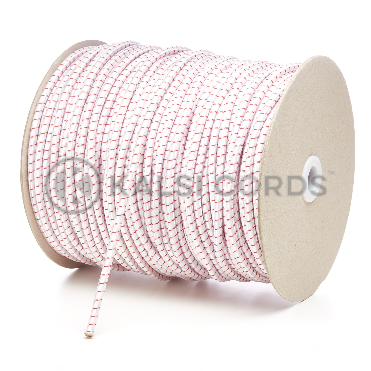 PE114 5mm Round Bungee Shock Cord Natural White with Red Fleck Kalsi Cords