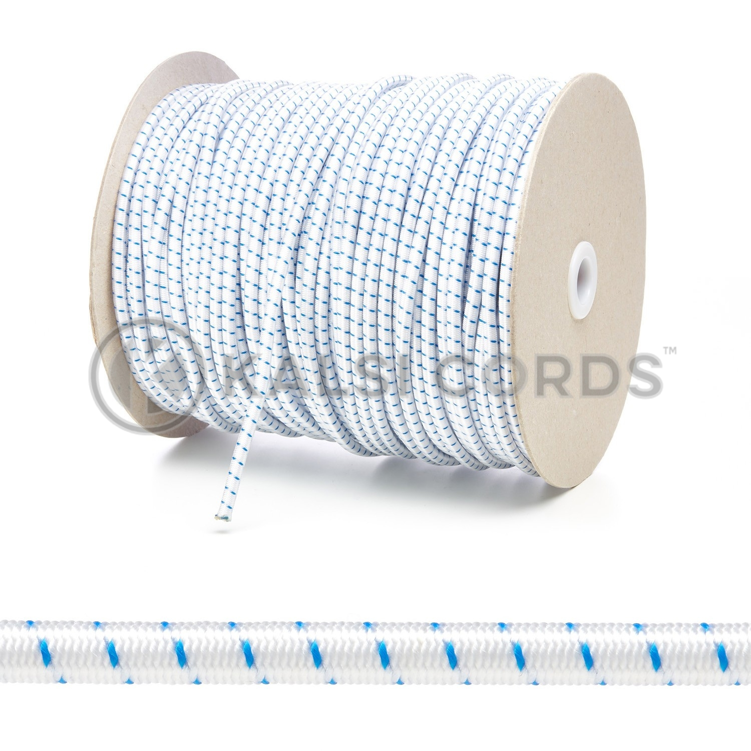 PE114 5mm Round Bungee Shock Cord Natural White with Royal Blue Fleck Edit 3 Kalsi Cords 1