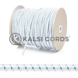 PE114 5mm Round Bungee Shock Cord Natural White with Royal Blue Fleck Edit 3 Kalsi Cords