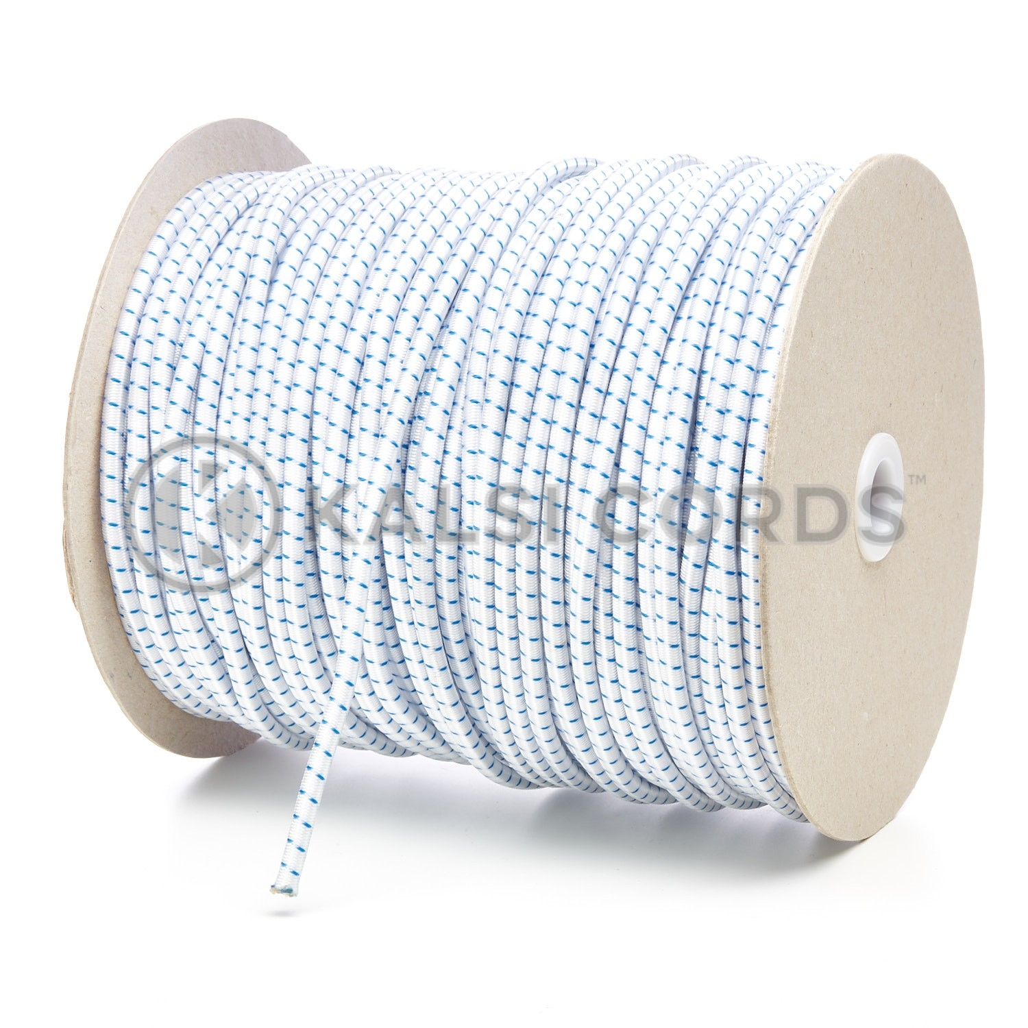 PE114 5mm Round Bungee Shock Cord Natural White with Royal Blue Fleck Kalsi Cords