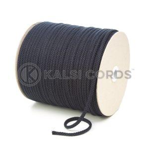 C207 5mm Round Cotton Cord Black Kalsi Cords