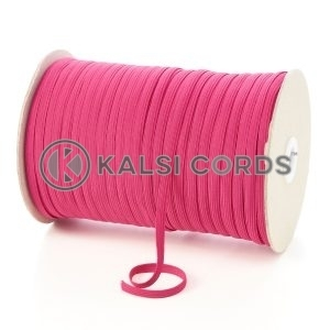 Cerise Pink 6mm 8 Cord Flat Braided Elastic Roll Sewing Tailoring Face Masks TPE11 Kalsi Cords