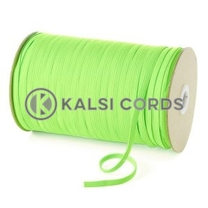 Fluorescent Lime 6mm 8 Cord Flat Braided Elastic Roll Sewing Tailoring Face Masks TPE11 Kalsi Cords