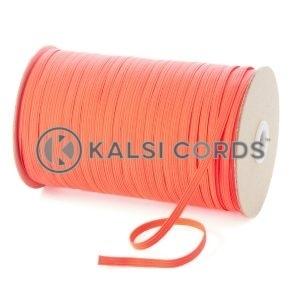 Fluorescent Pink 6mm 8 Cord Flat Braided Elastic Roll Sewing Tailoring Face Masks TPE11 Kalsi Cords