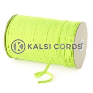 Fluorescent Yellow 6mm 8 Cord Flat Braided Elastic Roll Sewing Tailoring Face Masks TPE11 Kalsi Cords