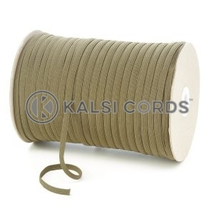 Khaki 6mm 8 Cord Flat Braided Elastic Roll Sewing Tailoring Face Masks TPE11 Kalsi Cords