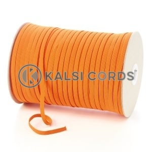 Orange 6mm 8 Cord Flat Braided Elastic Roll Sewing Tailoring Face Masks TPE11 Kalsi Cords