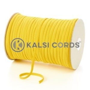 Yellow 6mm 8 Cord Flat Braided Elastic Roll Sewing Tailoring Face Masks TPE11 Kalsi Cords