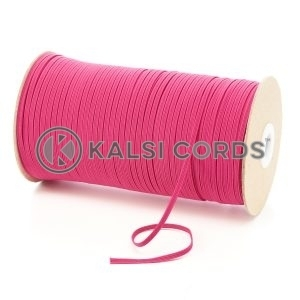 Cerise Pink 3mm 4 Cord Flat Braided Elastic Roll Sewing Face Masks TPE50 Kalsi Cords
