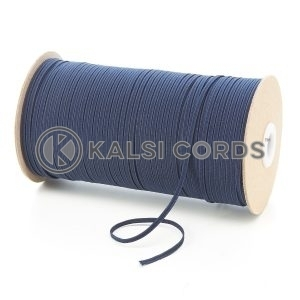 Dark Navy 3mm 4 Cord Flat Braided Elastic Roll Sewing Face Masks TPE50 Kalsi Cords