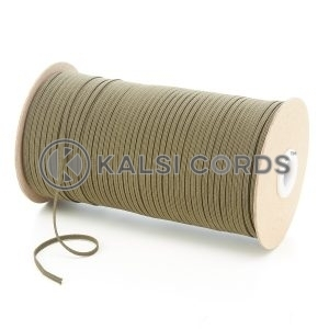 Khaki 3mm 4 Cord Flat Braided Elastic Roll Sewing Face Masks TPE50 Kalsi Cords