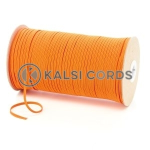 Orange 3mm 4 Cord Flat Braided Elastic Roll Sewing Face Masks TPE50 Kalsi Cords