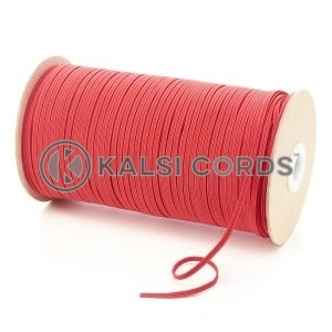 Red 3mm 4 Cord Flat Braided Elastic Roll Sewing Face Masks TPE50 Kalsi Cords