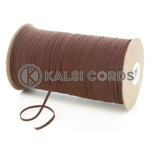 York Brown 3mm 4 Cord Flat Braided Elastic Roll Sewing Face Masks TPE50 Kalsi Cords
