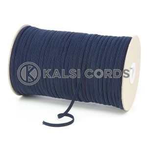Dark Navy 4mm 6 Cord Flat Braided Elastic Roll Sewing Face Masks TPE10 Kalsi Cords