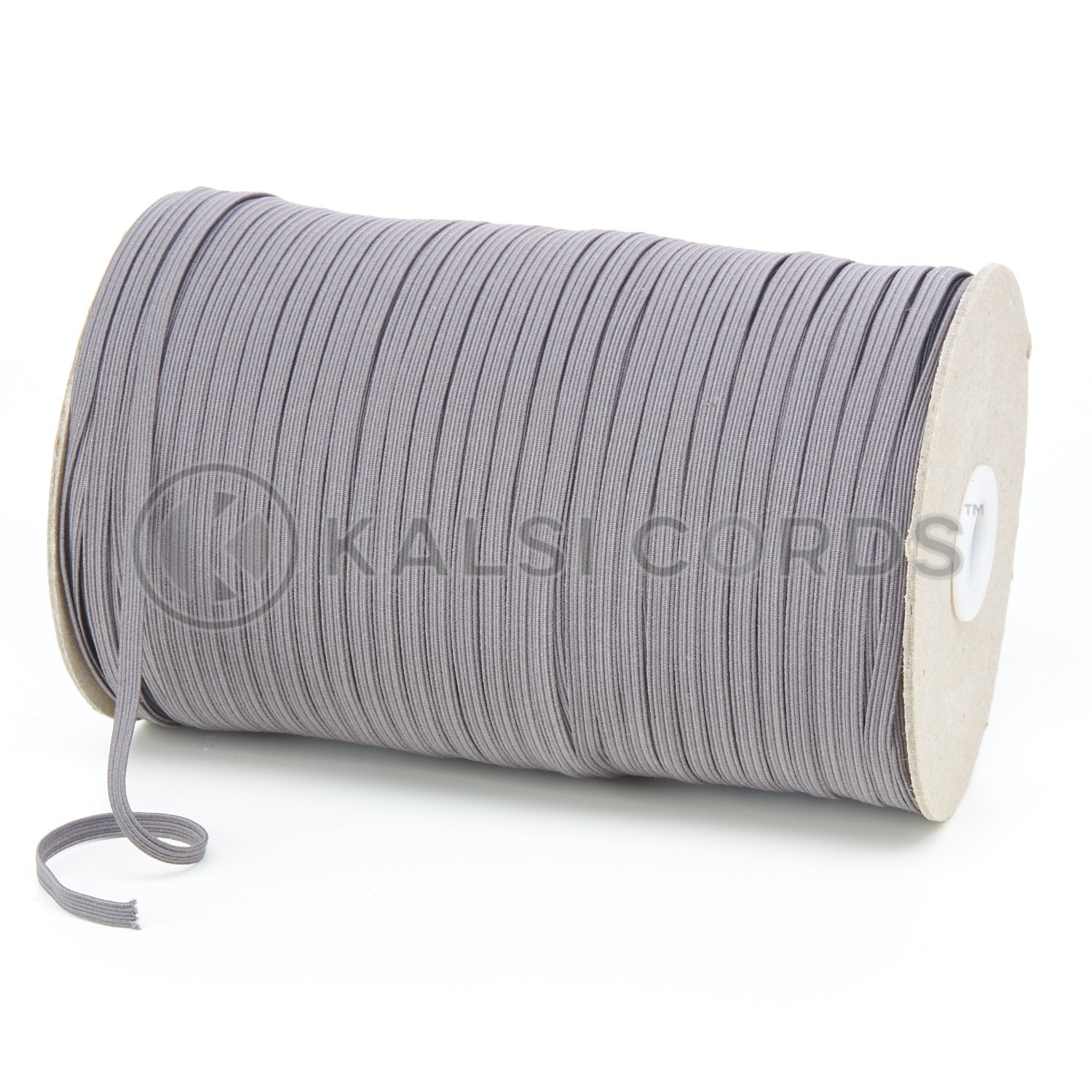 Grey 4mm 6 Cord Flat Braided Elastic Roll Sewing Face Masks TPE10 Kalsi Cords