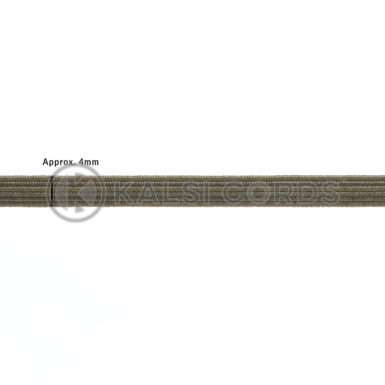 Khaki Olive Green 4mm 6 Cord Flat Braided Elastic Sewing Face Masks TPE10 Kalsi Cords