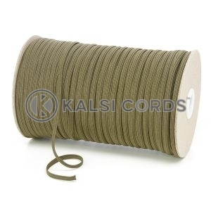 Khaki Olive Green 4mm 6 Cord Flat Braided Elastic Roll Sewing Face Masks TPE10 Kalsi Cords
