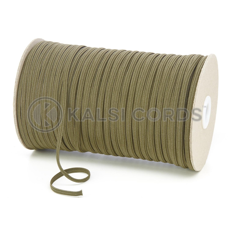 Khaki Olive Green 4mm 6 Cord Flat Braided Elastic Roll Sewing Face Masks TPE10 Kalsi Cords