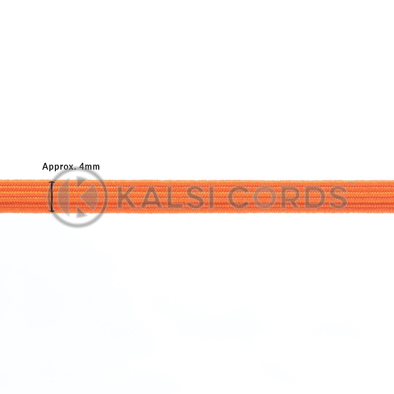 Orange 4mm 6 Cord Flat Braided Elastic Sewing Face Masks TPE10 Kalsi Cords