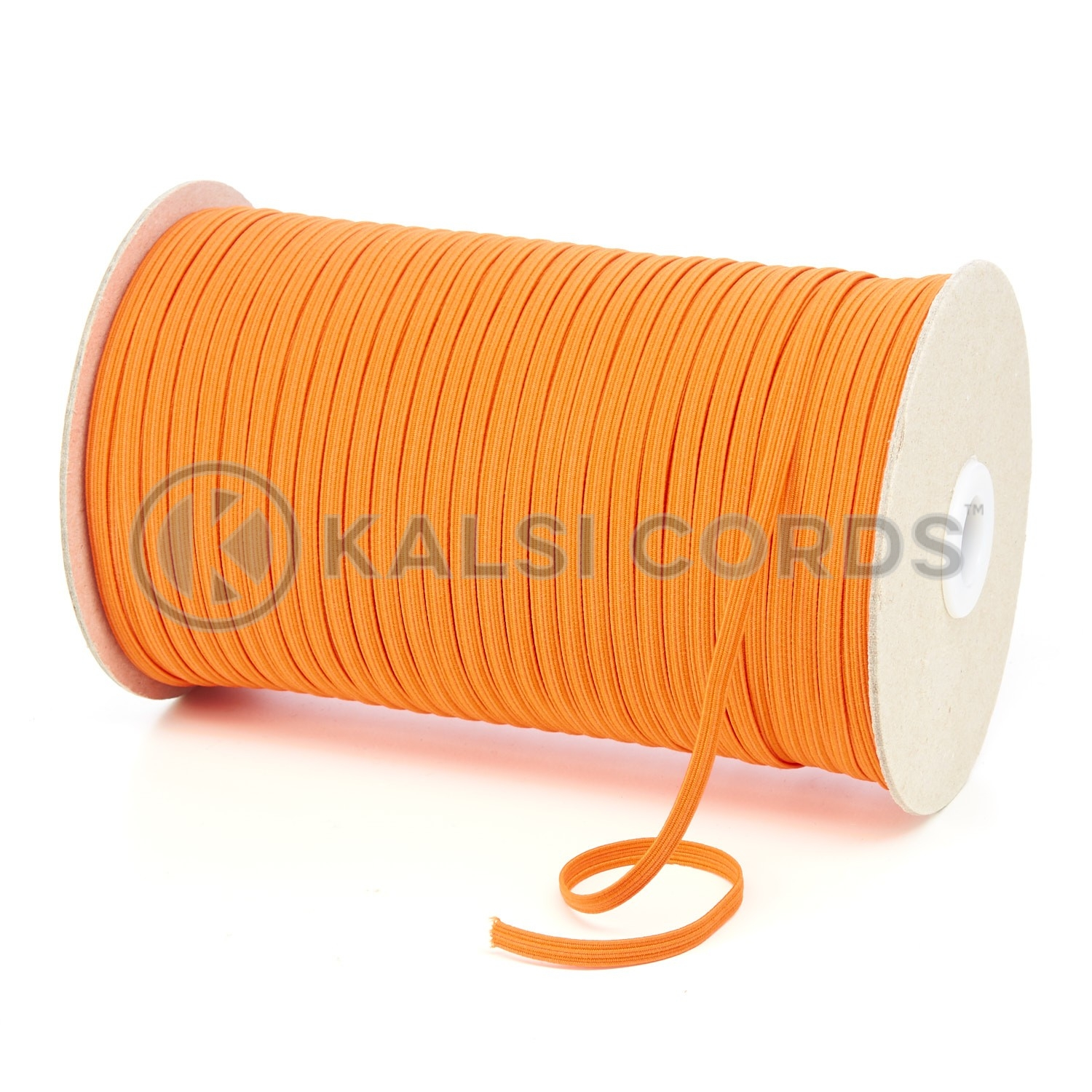 Orange 4mm 6 Cord Flat Braided Elastic Roll Sewing Face Masks TPE10 Kalsi Cords