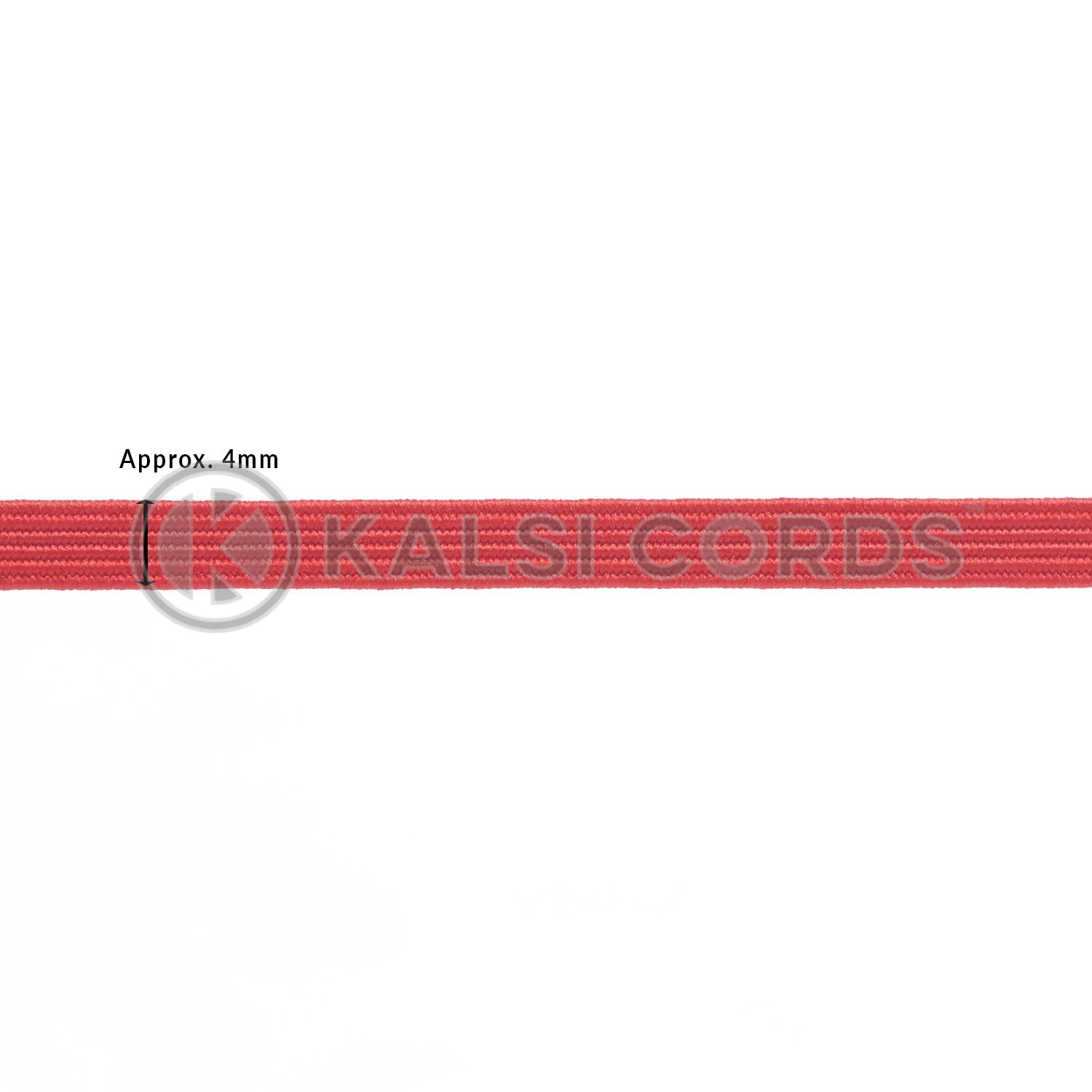 Red 4mm 6 Cord Flat Braided Elastic Sewing Face Masks TPE10 Kalsi Cords
