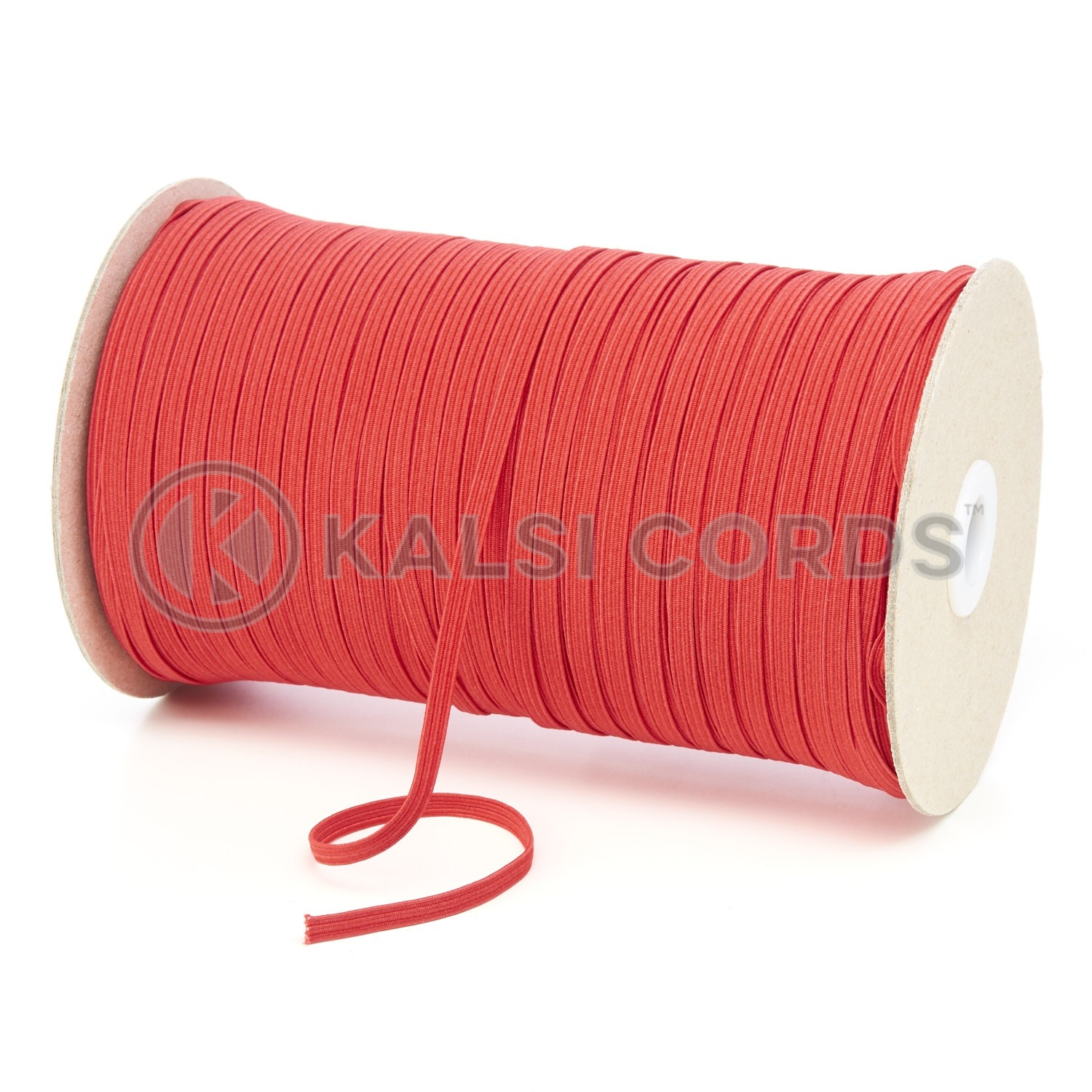 Red 4mm 6 Cord Flat Braided Elastic Roll Sewing Face Masks TPE10 Kalsi Cords
