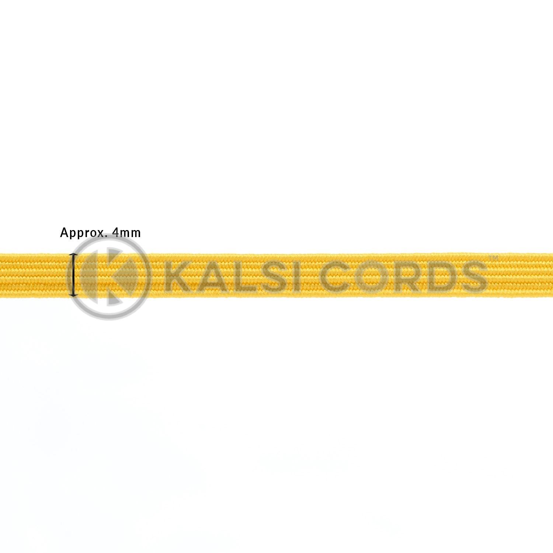 TPE10 4mm 6 Cord Flat Braided Elastic Yellow PG720 Edit 1 Kalsi Cords