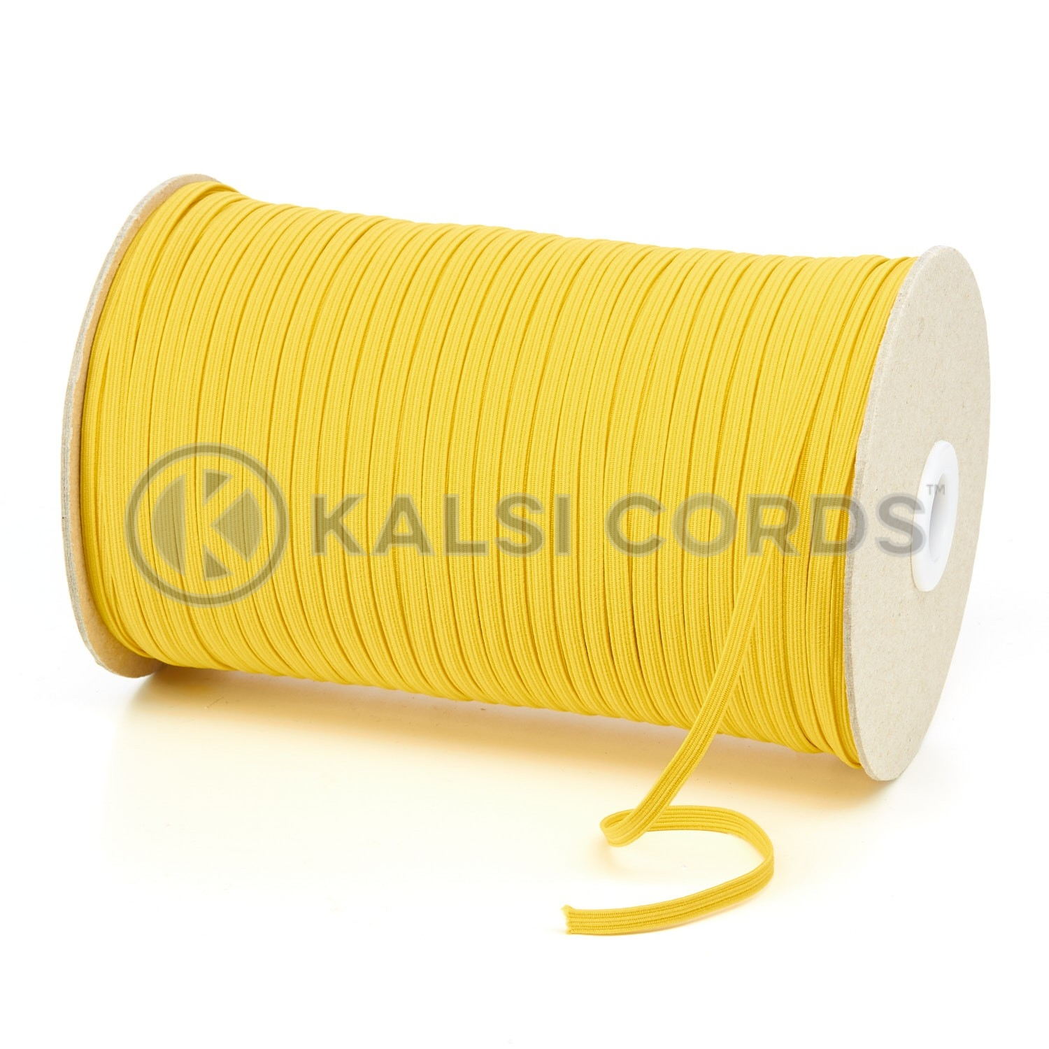 Yellow 4mm 6 Cord Flat Braided Elastic Roll Sewing Face Masks TPE10 Kalsi Cords
