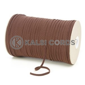 York Brown 4mm 6 Cord Flat Braided Elastic Roll Sewing Face Masks TPE10 Kalsi Cords