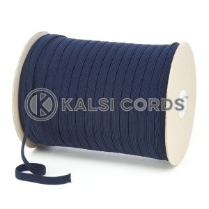 Dark Navy 8mm 10 Cord Flat Braided Elastic Roll Sewing Tailoring Face Masks TPE225 Kalsi Cords