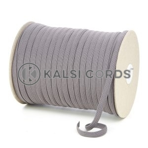 Grey 8mm 10 Cord Flat Braided Elastic Roll Sewing Tailoring Face Masks TPE225 Kalsi Cords