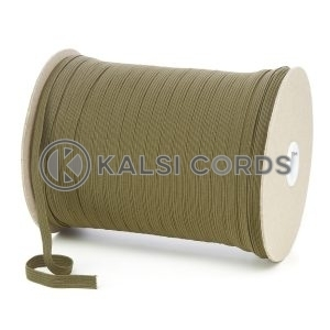 Khaki Olive Green 8mm 10 Cord Flat Braided Elastic Roll Sewing Tailoring Face Masks TPE225 Kalsi Cords