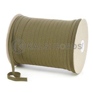 TPE225 8mm 10 Cord Flat Braided Elastic Khaki PG811 Kalsi Cords