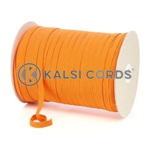 Orange 8mm 10 Cord Flat Braided Elastic Roll Sewing Tailoring Face Masks TPE225 Kalsi Cords