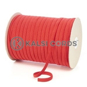 Red 8mm 10 Cord Flat Braided Elastic Roll Sewing Tailoring Face Masks TPE225 Kalsi Cords