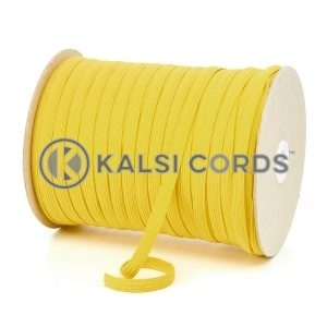 Yellow 8mm 10 Cord Flat Braided Elastic Roll Sewing Tailoring Face Masks TPE225 Kalsi Cords