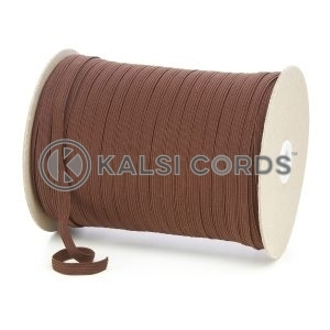 York Brown 8mm 10 Cord Flat Braided Elastic Roll Sewing Tailoring Face Masks TPE225 Kalsi Cords