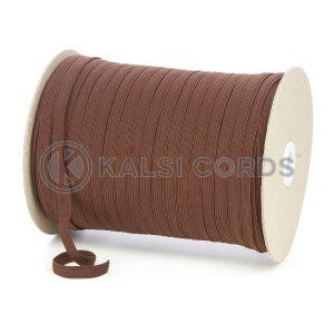 TPE225 8mm 10 Cord Flat Braided Elastic York Brown PG656 Kalsi Cords