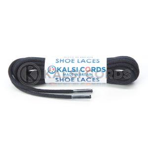 C250 2mm Thin Round Premium Cotton Shoe Laces Black 1 Kalsi Cords
