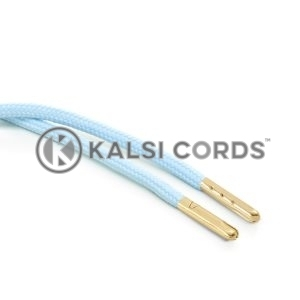 T621 5mm Round Polyester Draw String Baby Blue 2 Gold Metal Tip Kalsi Cords