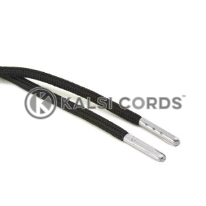 T621 5mm Round Polyester Draw String Black 2 Silver Metal Tip Kalsi Cords
