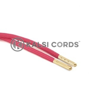 T621 5mm Round Polyester Draw String Cerise Pink 2 Gold Metal Tip Kalsi Cords