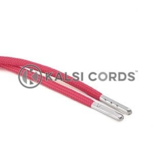 T621 5mm Round Polyester Draw String Cerise Pink 2 Silver Metal Tip Kalsi Cords
