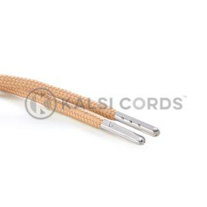 T621 5mm Round Polyester Draw String Dark Beige 2 Silver Metal Tip Kalsi Cords