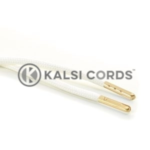 T621 5mm Round Polyester Draw String Ecru off white 2 Gold Metal Tip Kalsi Cords