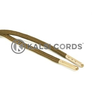 T621 5mm Round Polyester Draw String Everglade 2 Gold Metal Tip Kalsi Cords