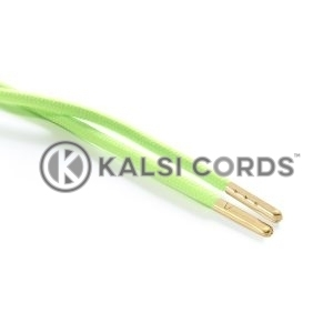T621 5mm Round Polyester Draw String Fluorescent Lime 2 Gold Metal Tip Kalsi Cords
