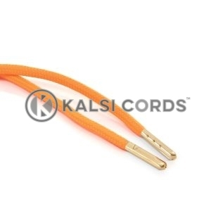 T621 5mm Round Polyester Draw String Fluorescent Orange 2 Gold Metal Tip Kalsi Cords