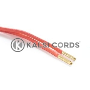 T621 5mm Round Polyester Draw String Fluorescent Pink 2 Gold Metal Tip Kalsi Cords